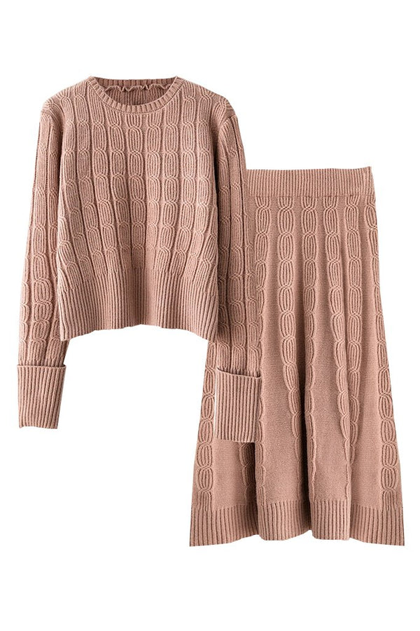 Beige Knitted Blouse and Skirt Set | Woman Clothing - Moncye