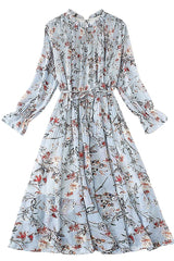 Yvonne Blue Floral Siphon Dress