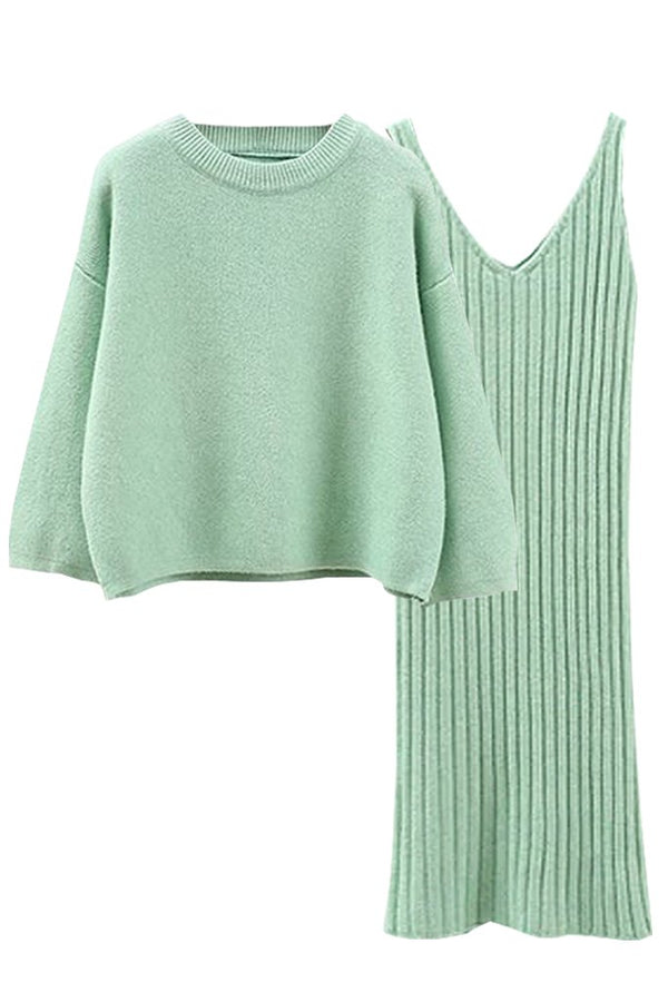 Light Green Kneeted Mini Dress and Top Set | Woman Clothing - Moncye