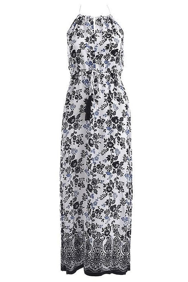 Christa Black and white Printed Long Sleeveless Dress