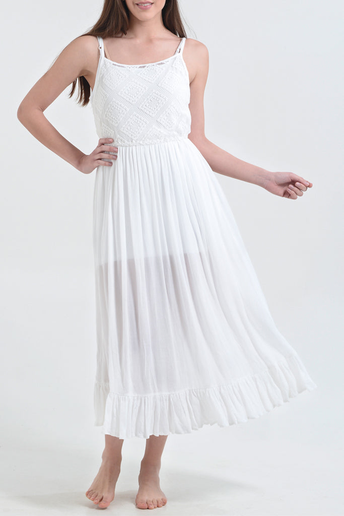 ELODIE VERINA White Maxi Dress Resort Clothing