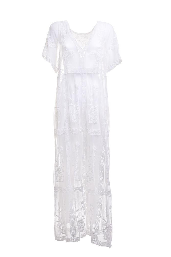Millie White Caftan with Lace