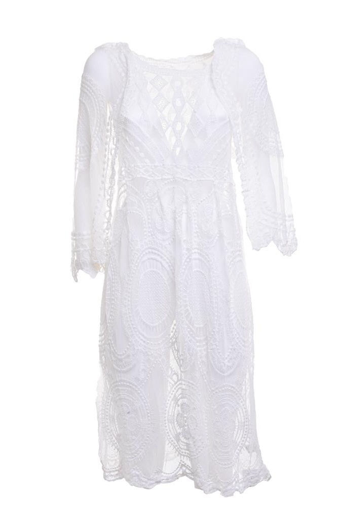 Christina White Kimono with Lace and Transparency
