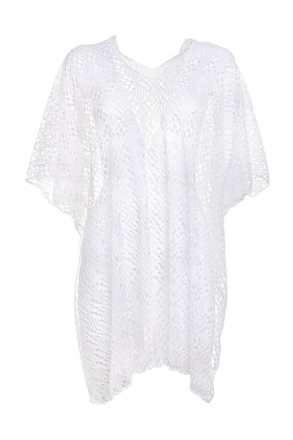 Renata White Caftan with Lace