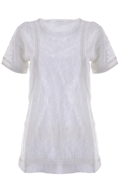 KIRA White Cotton Top with Short Sleeves