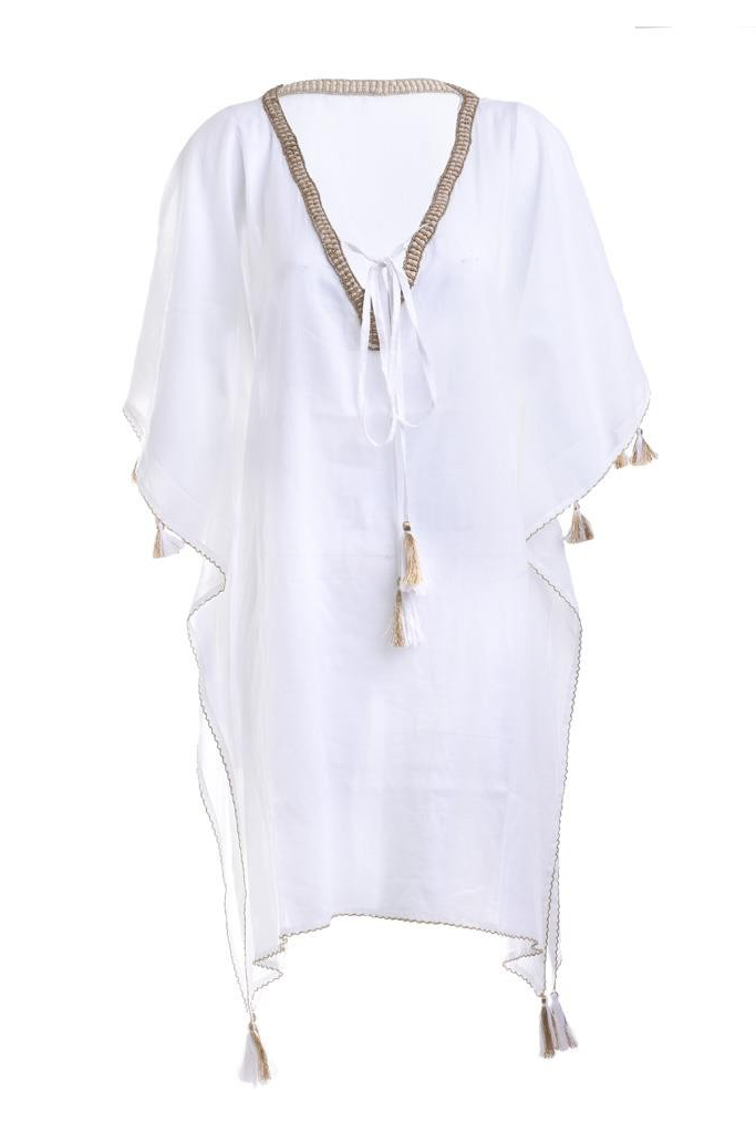 Mira White Caftan With Tassels