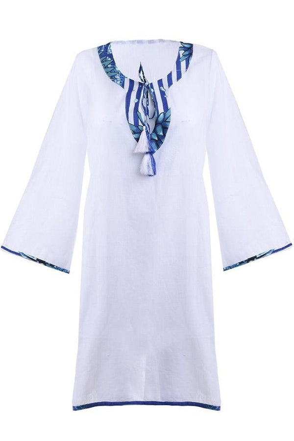 Renae White Caftan with Blue Rally