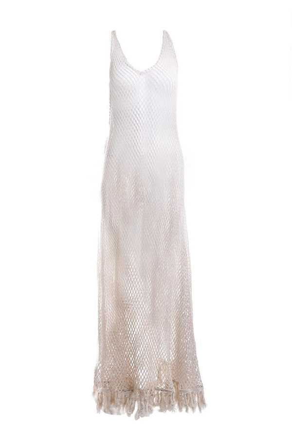 Avianna Long White Mesh Dress with Fringes and Lace