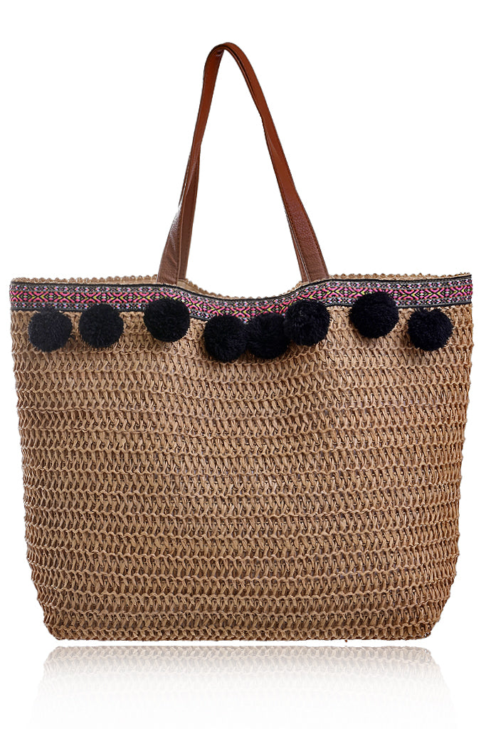 KIRKA Raffia Brown Woven Bag Beach Bags