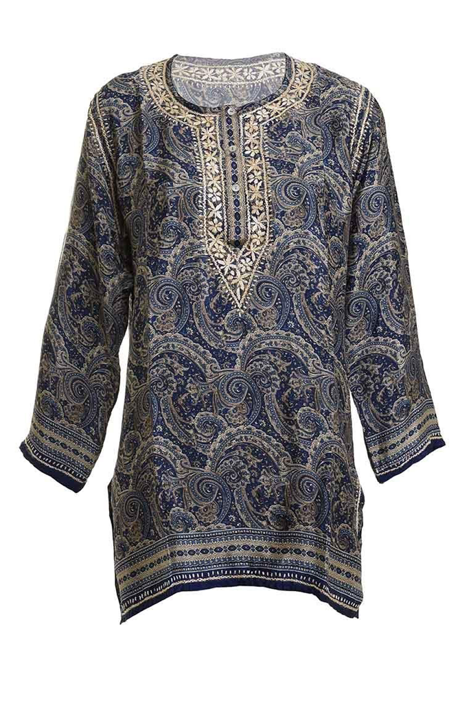 Johanna Tunic Caftan with Blue Shades