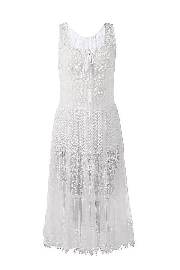 Zelodia Ivory Sleeveless Dress with Lace