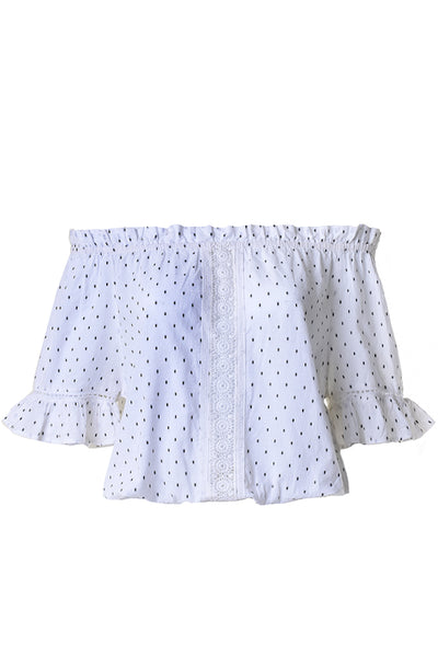 DOTTY White Polka Dots Cropped Crinkled Top