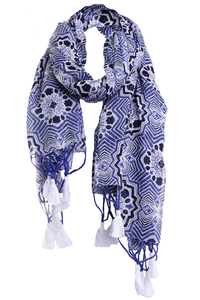 RODARY Blue Scarf with Patterns