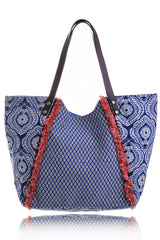 LUCIANA Blue Cotton Bag Beach Bags