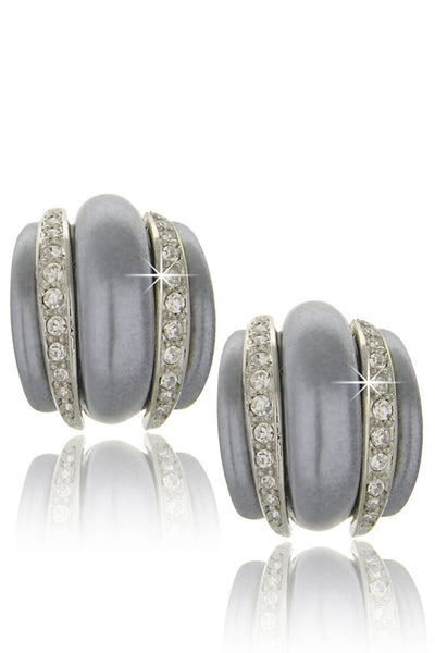 CONTESSA Gray Pearl Crystal Clip Earrings