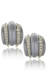 KENNETH JAY LANE CONTESSA Gray Pearl Crystal Clip Earrings