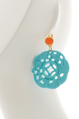 KENNETH JAY LANE BALI Turquoise Carved Pierced Earrings