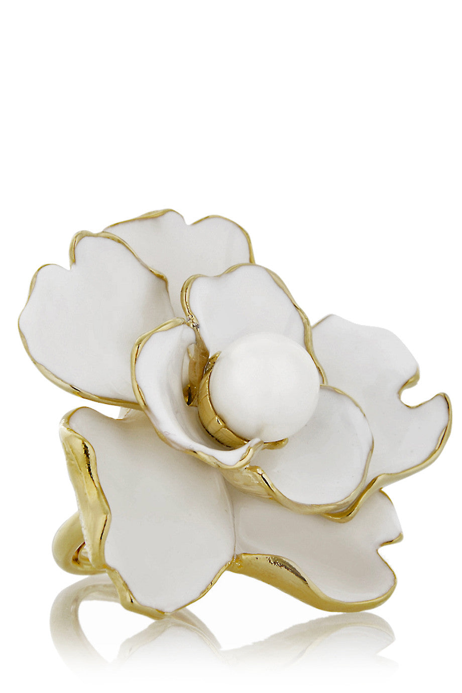 Kenneth Jay Lane Camelia White Flower Ring Pret A Beaute