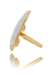 KENNETH JAY LANE STARFISH White Enamel Ring