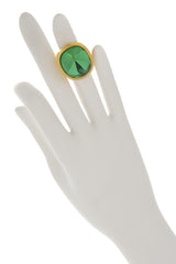 KENNETH JAY LANE EMERALD Oval Green Crystal Cocktail Ring