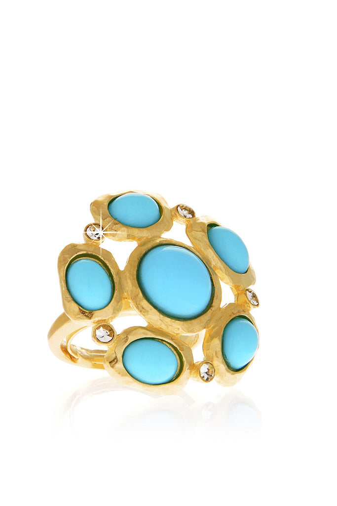 KENNETH JAY LANE FLOWER Turquoise Gold Hammered Ring