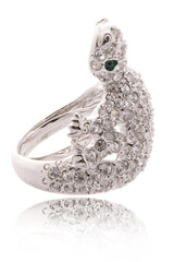 KENNETH JAY LANE LIZARD Crystal Cocktail Ring