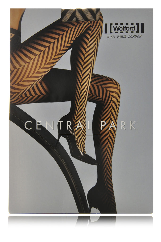 WOLFORD CENTRAL PARK Striped Black Tights 9180