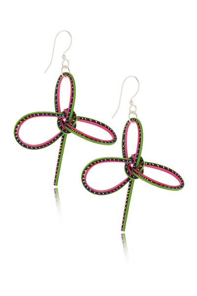 AGATHA TERRELL - MARCELIA Braided Pink Green Bamboo Earrings - Jewelry