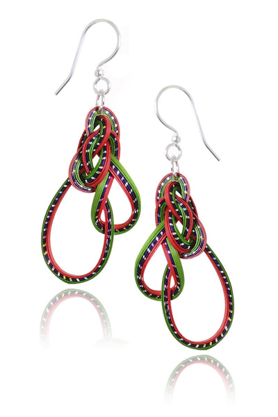 AGATHA TERRELL - RONDA Fuchsia Green Braided Bamboo Earrings - Jewelry