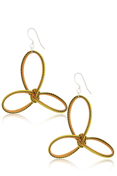 AGATHA TERRELL - SOLINA Yellow Braided Bamboo Earrings - Jewelry