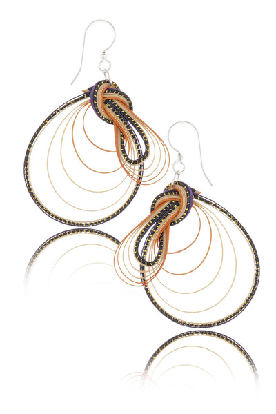 AGATHA TERRELL - VIVERRA Orange Braided Bamboo Earrings - Jewelry