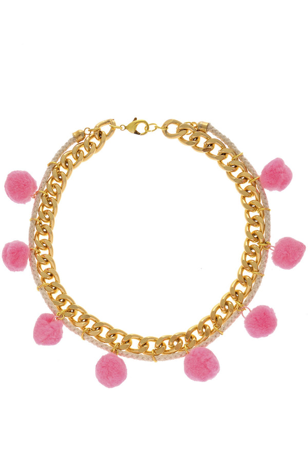 ALBERTO GALLETI POMPOM Pink Chain Necklace