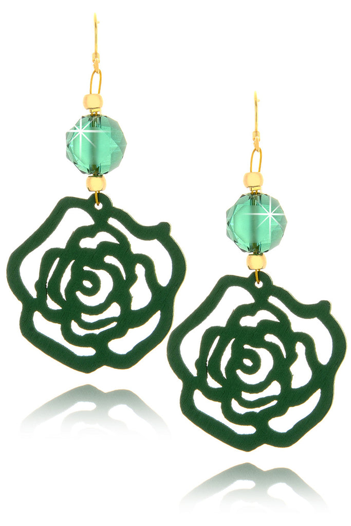 ALBERTO GALLETI ROSE Green Crystal Earrings