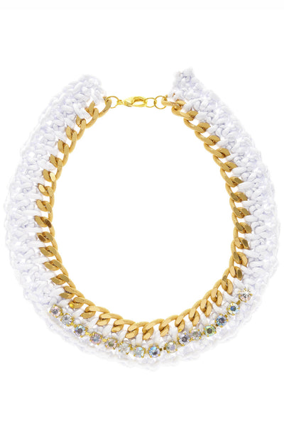 ALBERTO GALLETI - ANNELIESE White Woven Crystal Necklace - Jewelry