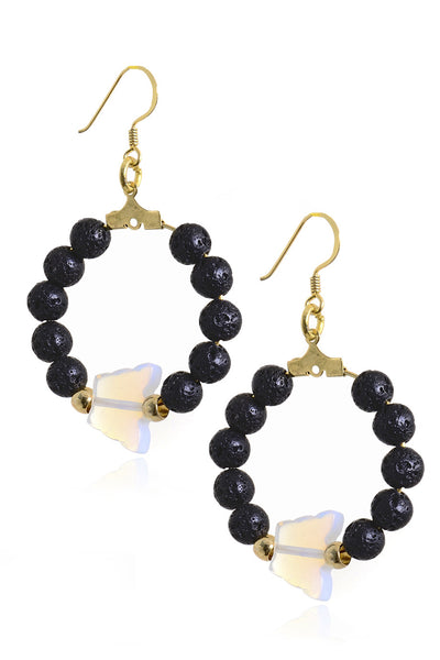 ALBERTO GALLETI - BUTTERFLY Moonstone Bead Hoop Earrings - Jewelry