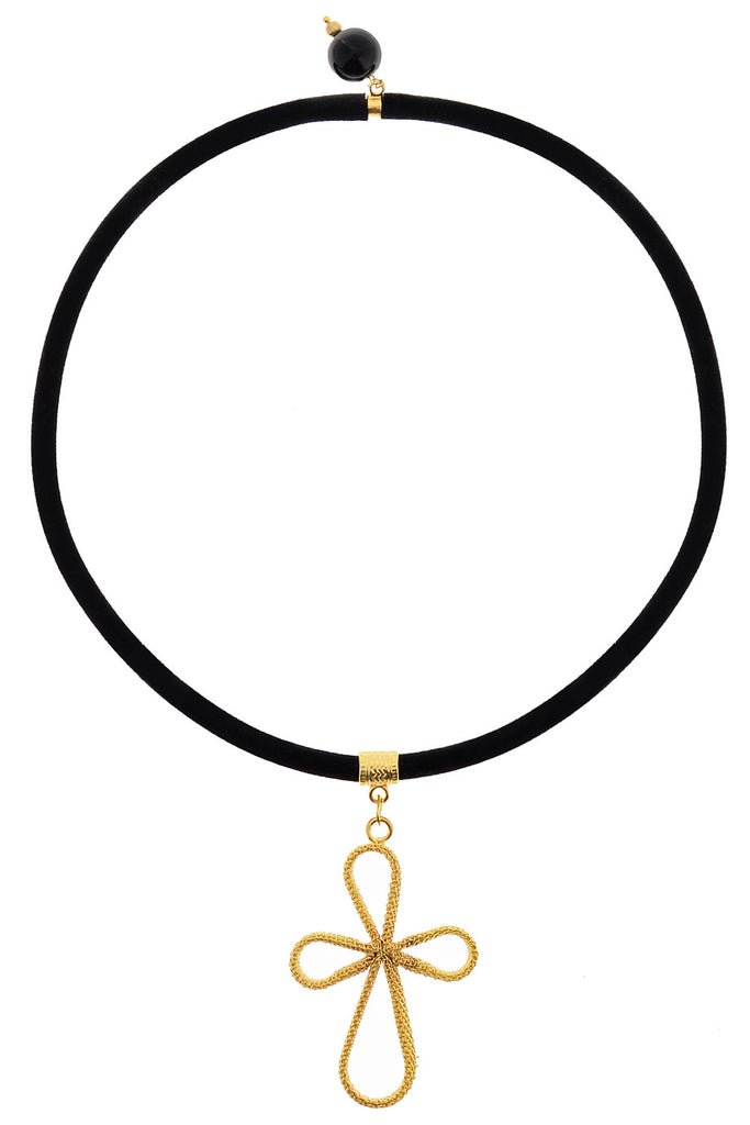 ALBERTO GALLETI CROSS Petal Black Velour Necklace
