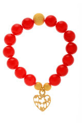 ALBERTO GALLETI HEART Red Glass Pearl Bracelet