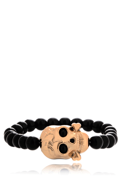 ALBERTO GALLETI SKULL Black Beads Bracelet