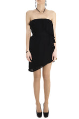 ALICE & TRIXIE DIANDRA Black Silk Mini Evening Dress