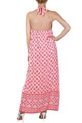 ALICE & TRIXIE PETRA Neon Pink Halterneck Maxi Silk Dress