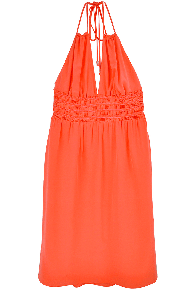 ALICE & TRIXIE VALERIA Coral Silk Halterneck Dress