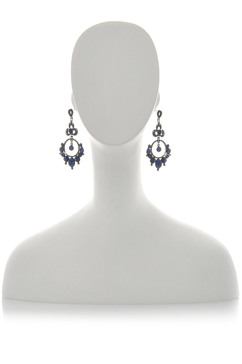 ANDREA MADER LACE Dark Blue Crystal Earrings