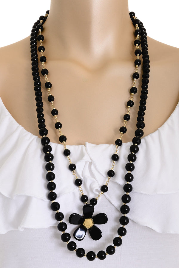 A. H. CRAWFORD DAISY Double Strand Black Necklace