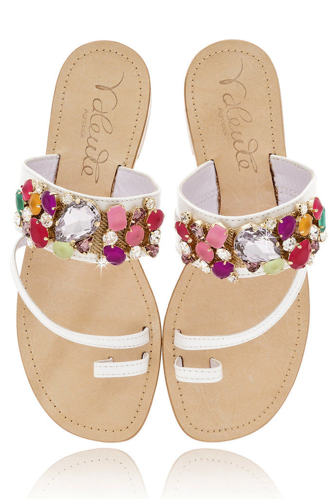 ANGELO VALENTE ANYA Crystal White Leather Women Sandals