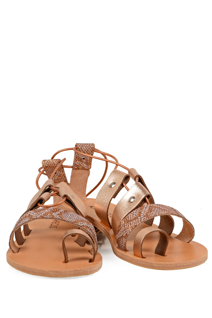 GRAECUS APHRODITE Rose Gold and Snake Leather Sandals