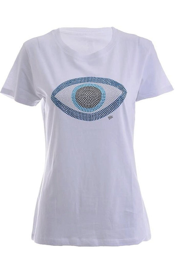 ONE KAEL White T-Shirt with Crystals