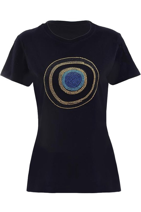 POPPY Black T-Shirt with Crystals