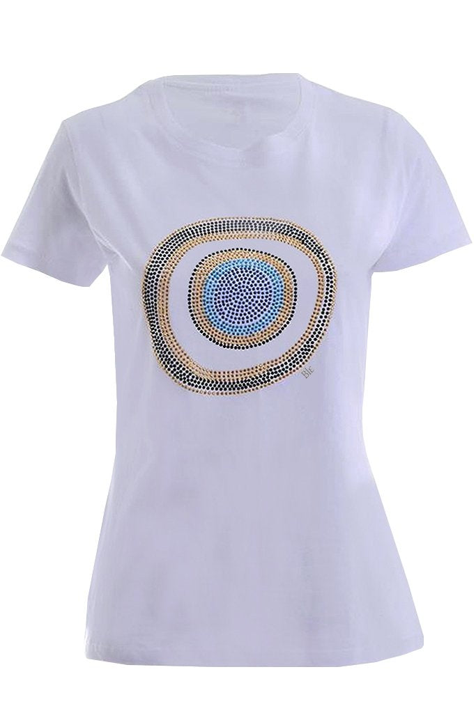 POPPY White T-Shirt with Crystals