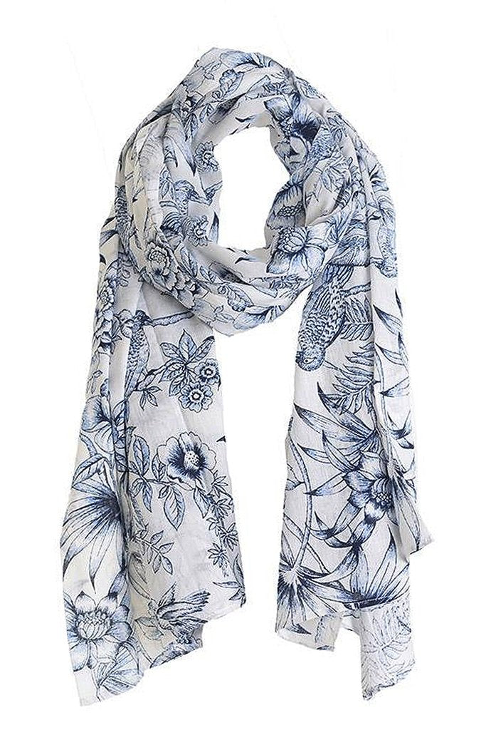 BIRDS Blue Printed Scarf