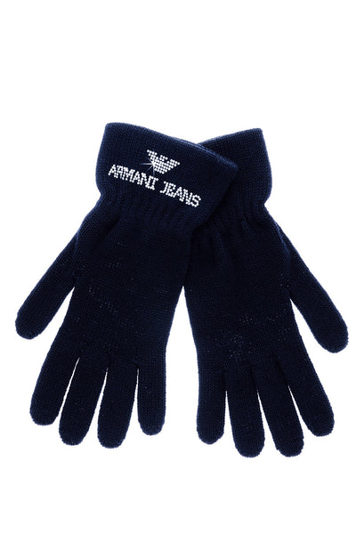 ARMANI JEANS CRYSTAL Blue Wool Women Gloves